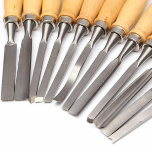 12 Piece Wood Carving Hand Chisel Tool Set