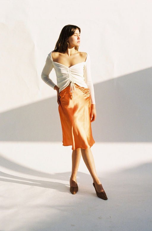 SILK RUCHED SKIRT