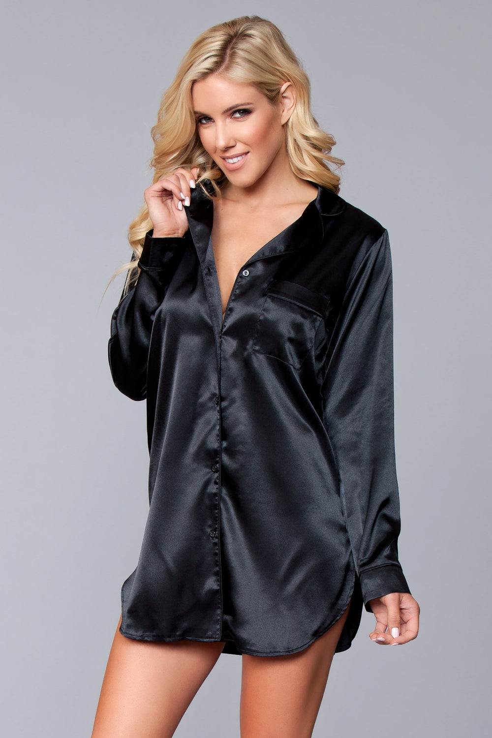 BW1788BK Kimberly Satin Sleepshirt