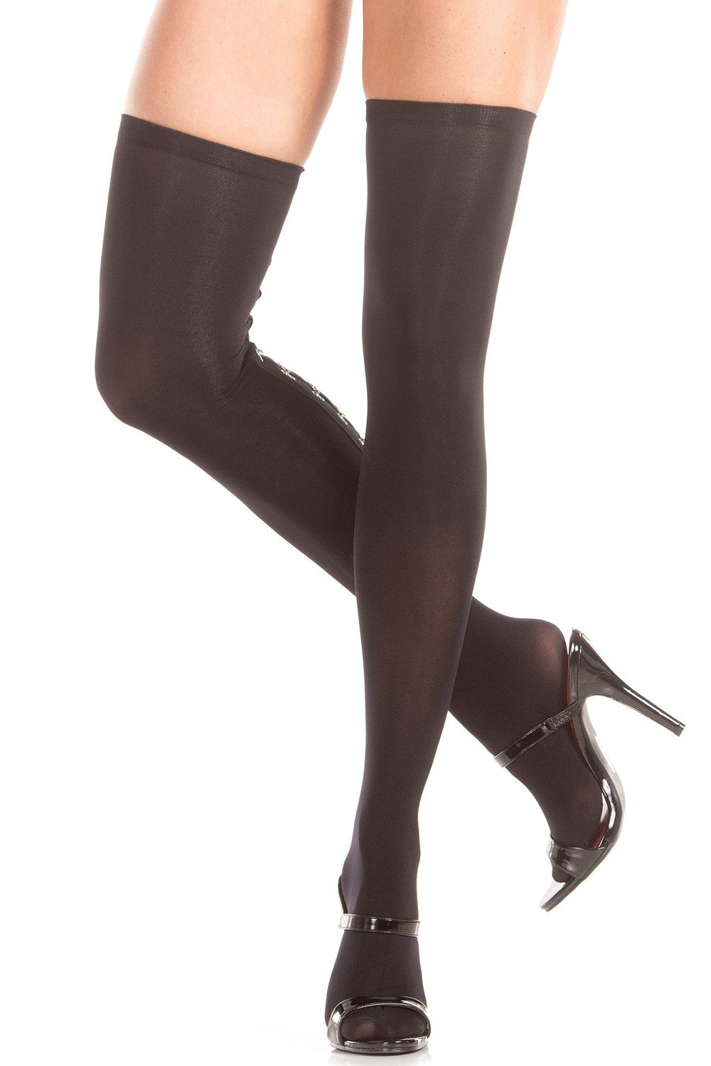 BW789 Hook and Eye Backseam Thigh Highs