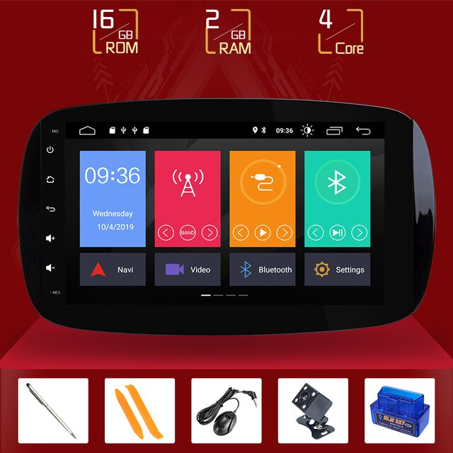 "Autoradio DSP Android 10"" Car Radio Multimedia Player Specifico Per Mercedes/Benz Smart Fortwo 2015 2016 2017 GPS Navigation stereo Rear camera"