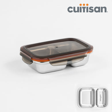 Partition Stainless Microwave-safe Lunch Box - Rectangle No. 1 (220ml)