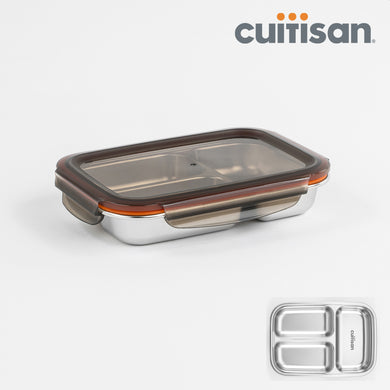 Partition Stainless Microwave-safe Lunch Box - Rectangle No. 3-1 (560ml)