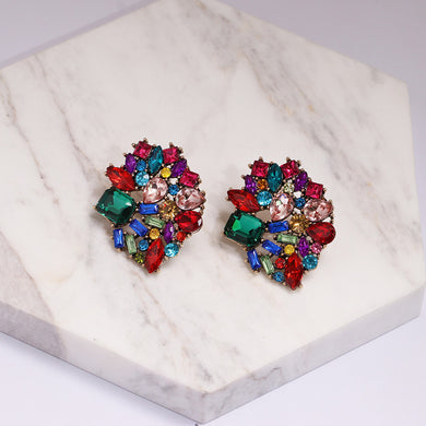 NZ - Stunning Colourful Rhinestone Stud Earrings