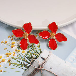 NZ - Sweet Shiny Red Flower Stud Earrings