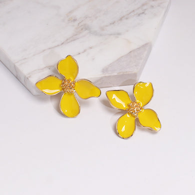 NZ - Sweet Shiny Yellow Flower Stud Earrings