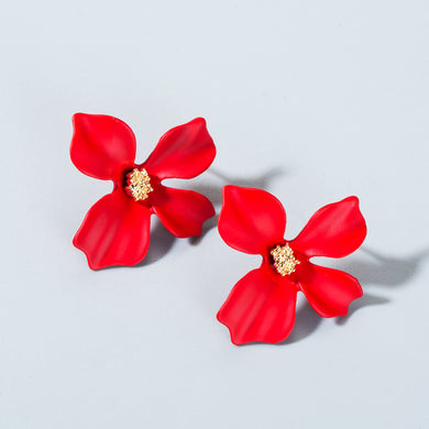 NZ - Sweet Red Painted Flower Stud Earrings