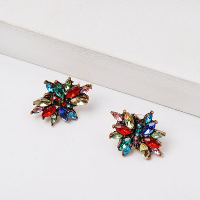 NZ - Colourful Geometric Rhinestone Stud Earrings