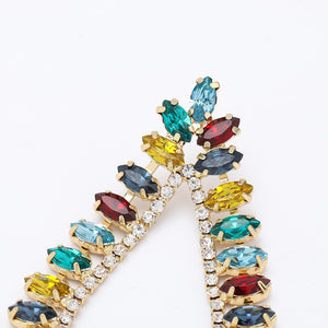 NZ - Colourful Drop-shaped Studded Stud Earrings