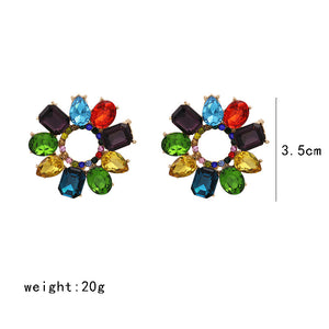 NZ - Colourful Geometric Round Stud Fashion Earrings