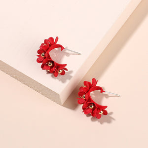 NZ - Charming Red Flower Bouquet Stud Earrings