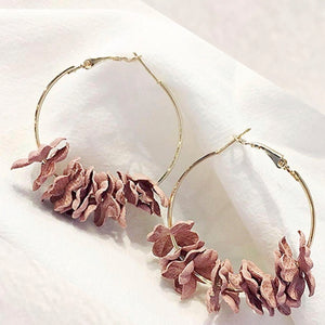 NZ - Wild Fabric Khaki Flower Hoop Earrings