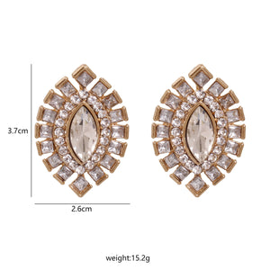 NZ - Crystal Olive alloy Stud Earrings