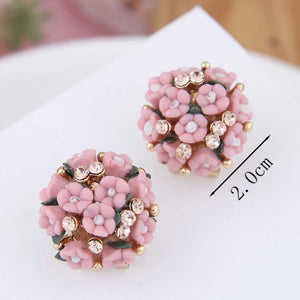 NZ - Bouquet Pink Flower Femme Clip Stud Earrings