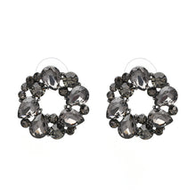 Load image into Gallery viewer, NZ - Grey Round Flowers Stud Earrings