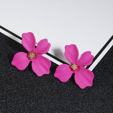 NZ - Sweet Pinkishred Painted Flower Stud Earrings