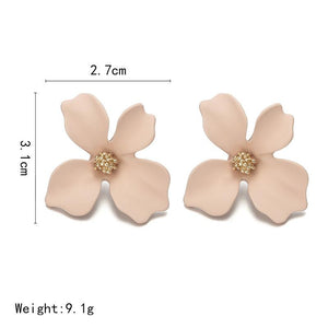 NZ - Sweet Green Painted Flower Stud Earrings