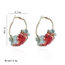 Load image into Gallery viewer, NZ - Wild Fabric Colourful Flower Hoop Earrings