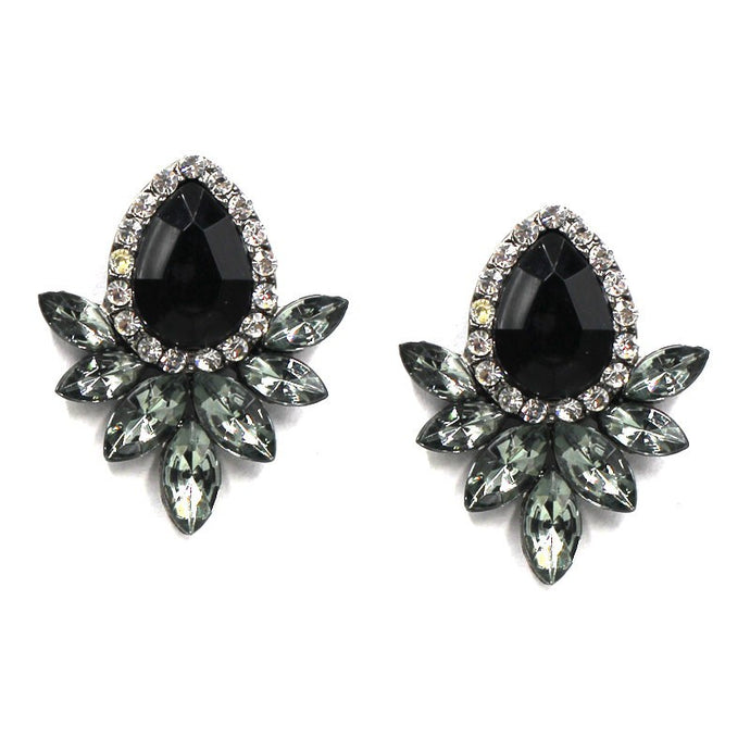 NZ - Black Crytal Flower Drop Stud Earrings