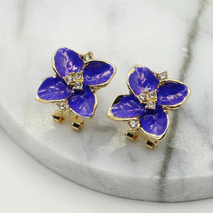 NZ - Drip flower Flash Clip Stud Earrings