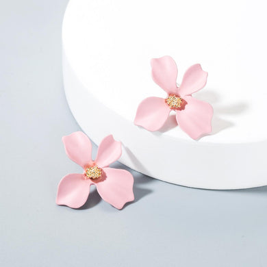 NZ - Sweet Pinkish Painted Flower Stud Earrings