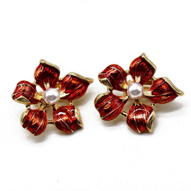 NZ - Red Shiny Flower Clip Stud Earrings