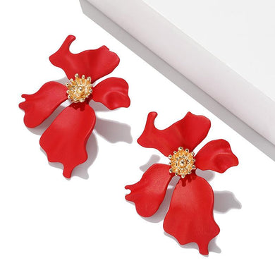 NZ - Sweet Maxi Long Painted Red Flower Stud Earrings