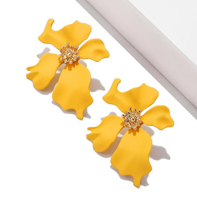 NZ - Sweet Maxi Long Painted Yellow Flower Stud Earrings
