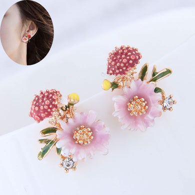 NZ - Cute Mushroom Pink Enamel Plant Stud Earrings