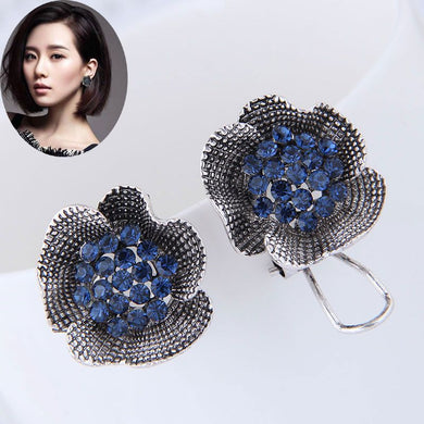 NZ - Gun Blue Rose Flower Studs Earrings