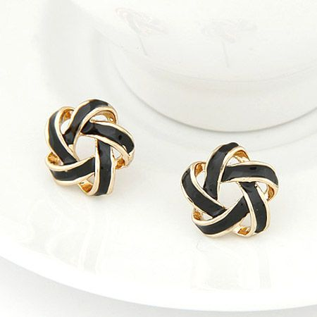 NZ - Elegant Fair Maiden Black Studs Earrings
