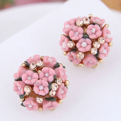 NZ - Bouquet Pink Flower Femme Stud Earrings