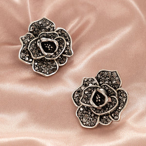 NZ - Cubic Zirconia Rose Flower Stud Earrings