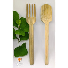 Load image into Gallery viewer, A bamboo fork and spoon set to be used as personal cutlery.
