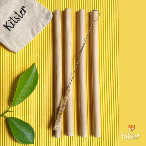Bamboo Straws (Set of 4) + Natural Cleaner