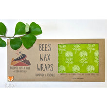 Load image into Gallery viewer, Beautiful green beeswax wraps inside its brown casing.