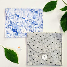 Load image into Gallery viewer, 2 beautiful cloth pouched with a flap and button closure - printed blue and grey designs that are delicate and pretty.