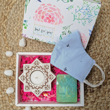 Load image into Gallery viewer, Candle holder + Handmade soap + Cotton mask