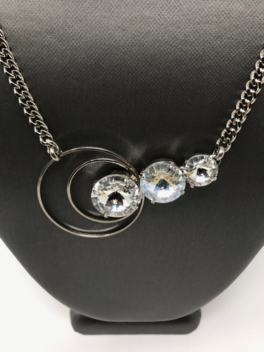 B-JWLD 3 Crystal Necklace with Circular Accent