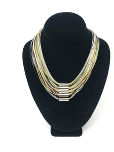B-JWLD Multi Earth Tones Corded Necklace with Tube Accents