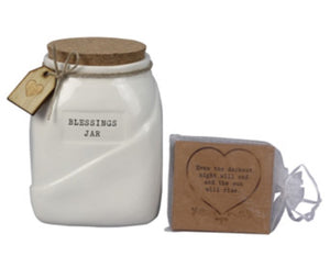 Ceramic Blessing Jar w/Cards