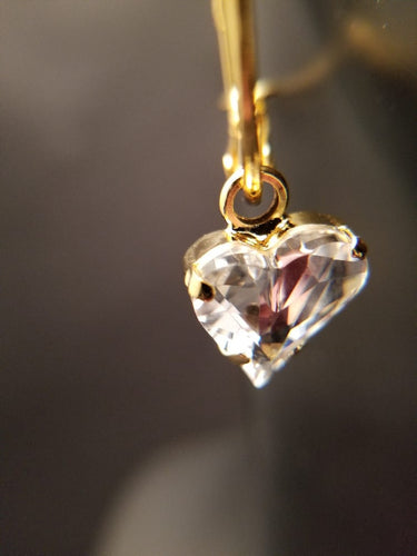 B-JWLD Crystal Clear Dangling Faceted Heart Gold Earrings