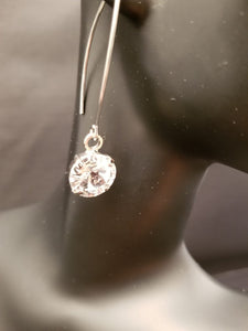 B-JWLD Crystal Clear Dangling Faceted Round Silver Earrings