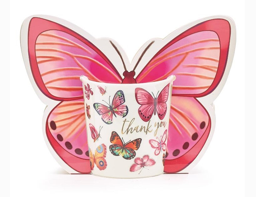 Thank You Butterfly Mug with Paper Gift Caddy