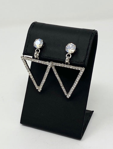 B-JWLD Crystal Triangle Drop Post Earrings