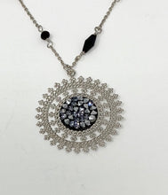 Load image into Gallery viewer, B-JWLD Beaded Black Necklace with Large Circle Medallion Pendant