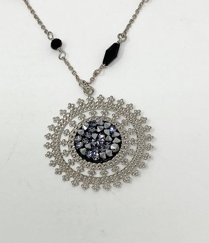 B-JWLD Beaded Black Necklace with Large Circle Medallion Pendant
