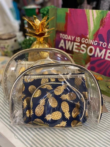 Gold Pineapple Cosmetic Bag Set