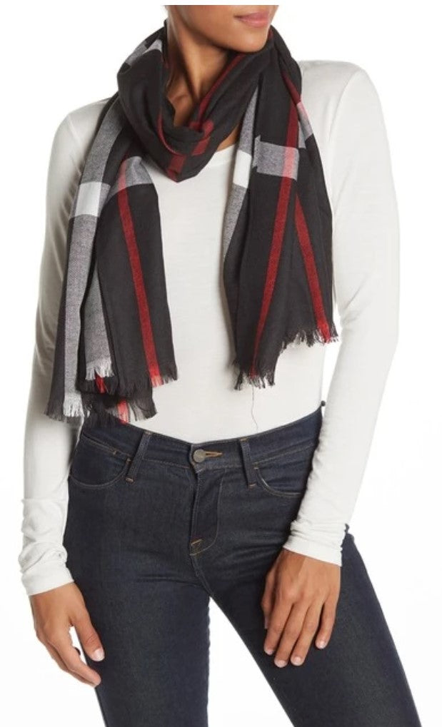 Plaid Shawl/Scarf - Black with Red and White