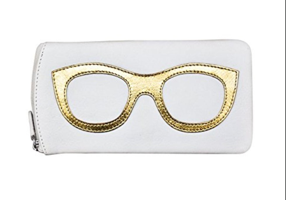 ILI Leather Sunglass Case Gold Design in White